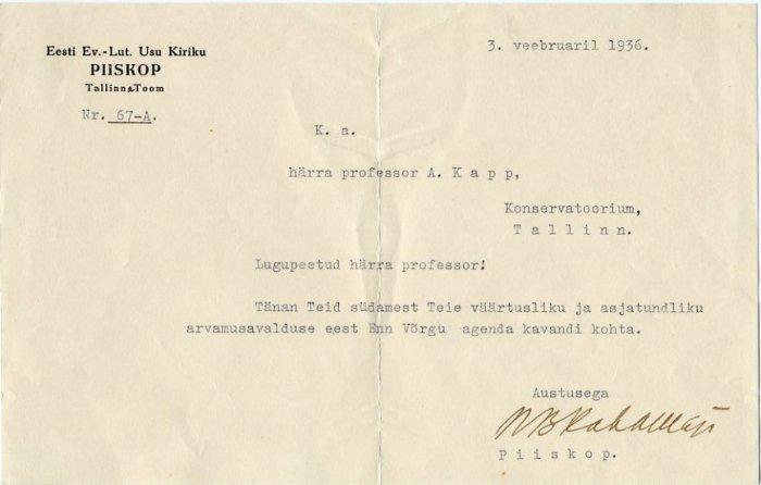 Bishop HUGO BERNHARD RAHAMAGI Typed Letter Signed 1936 to Composer ARTUR KAPP