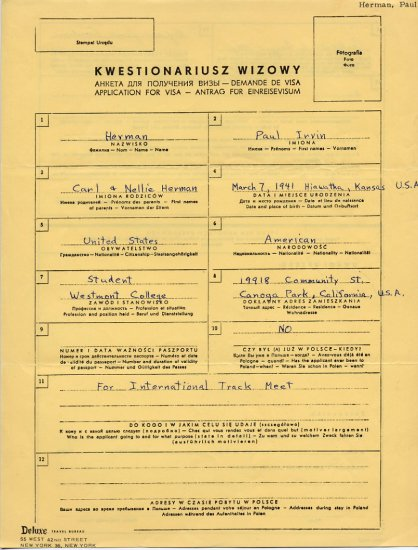 1964 Tokyo Decathlon Olympian PAUL HERMAN Handwritten Application for Visa 1961