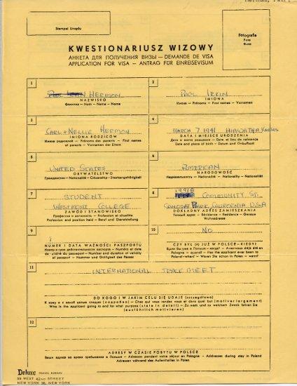 1964 Tokyo Decathlon Olympian PAUL HERMAN Handwritten Application for Visa 1961 #2