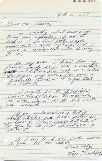 Western Michigan Sprint Star THOMAS RANDOLPH Autograph Letter Signed 1970