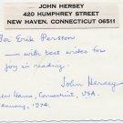 Pulitzer Prize-Winning Writer & Journalist JOHN HERSEY ANS 1974