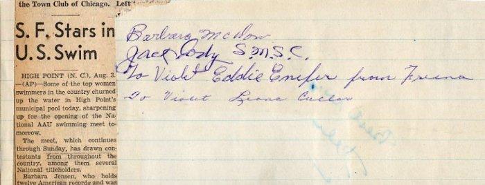 Legendary Oregon Swimming Coach JACK CODY Signed Scrapbook Page 1950s
