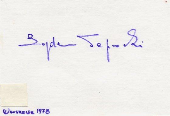 Polish Tenor BOGDAN PAPROCKI Autographed Card 1978