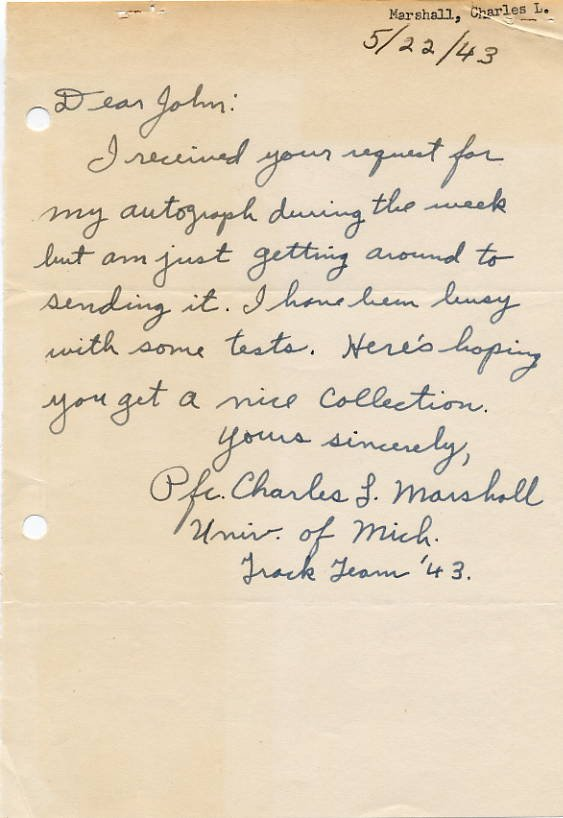 University of Michigan - 1943 Track & Field Team CHARLES MARSHALL Autograph Letter Signed 1943