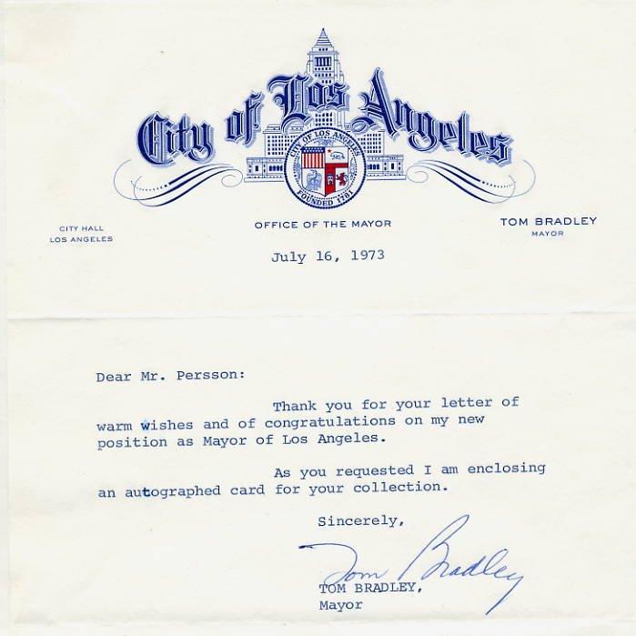 Mayor of Los Angeles TOM BRADLEY Typed Letter Signed 1973