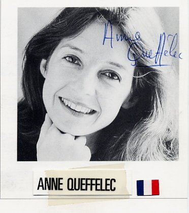 French Pianist ANNE QUEFFELEC Hand Signed Photo Card