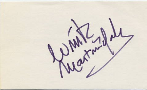 American Disc Jockey & TV Game Show Host WINK MARTINDALE Hand Signed Card 3x5