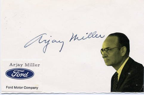 1960s Ford President ARJAY MILLER Autographed Card