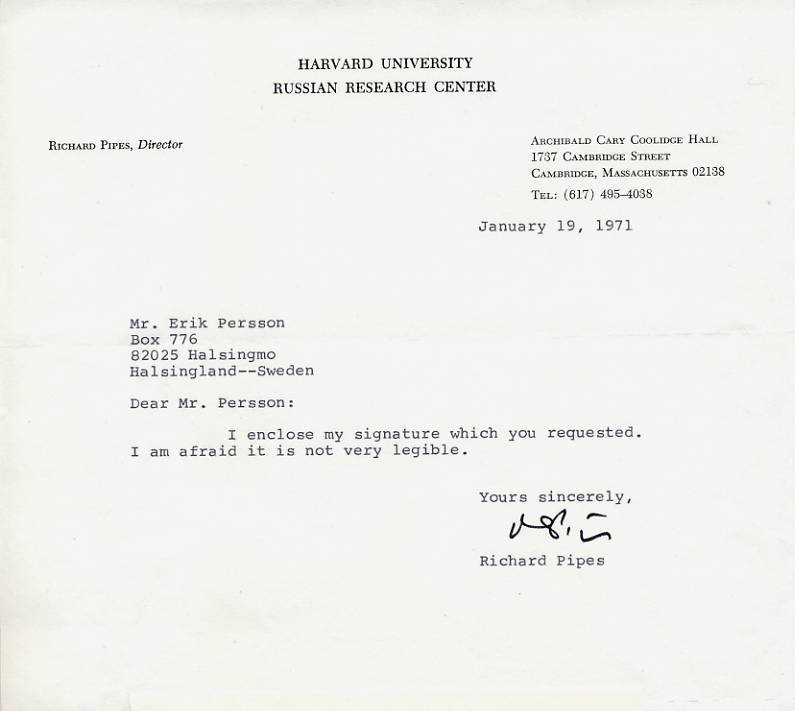 American Historian & Author RICHARD PIPES Typed Letter Signed 1971