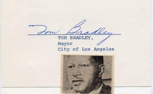 Mayor of Los Angeles TOM BRADLEY Autographed Card 1970s