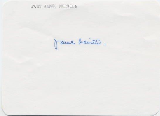 1977 Pulitzer Prize - Poet JAMES MERRILL Autograph 1970s