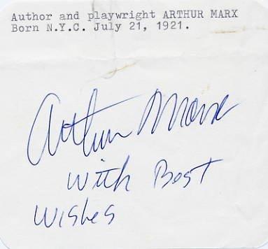 American Author & Son of Groucho ARTHUR MARX Autograph 1970s