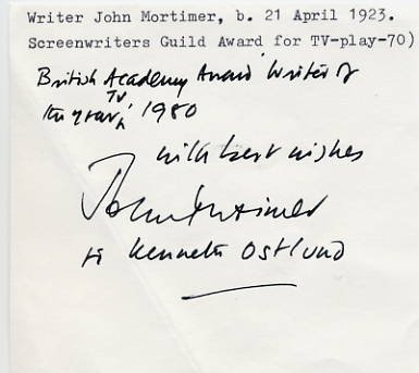 British Novelist, Playwright & Barrister JOHN MORTIMER ANS 1980s