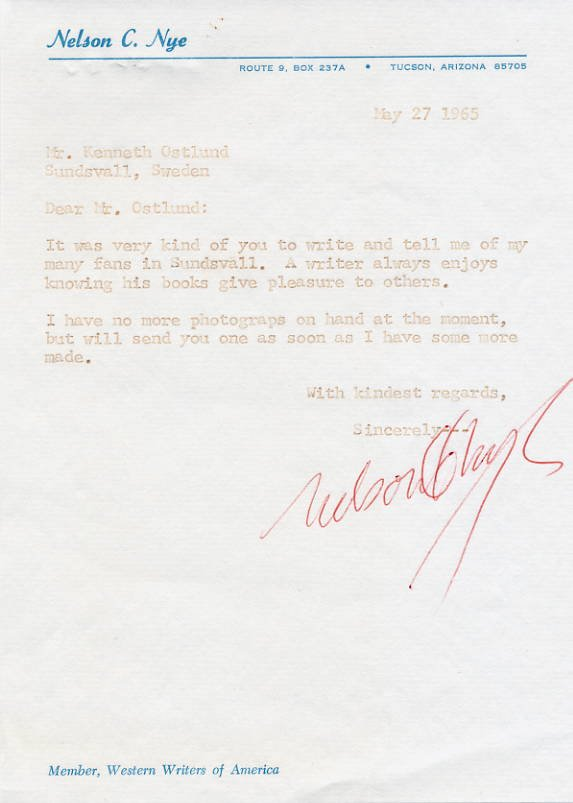 American Western Writer NELSON C. NYE Typed Letter Signed 1965