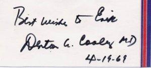 Pioneer Heart Surgeon DENTON COOLEY Autographed Card 1969