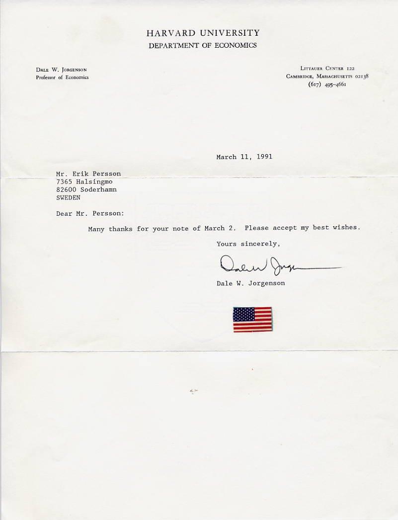 American Economist DALE W JORGENSON Typed Letter Signed 1991