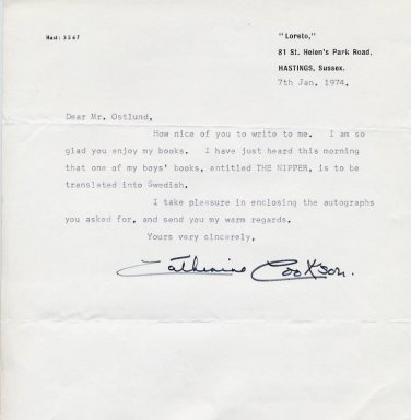 British Novelist Dame CATHERINE COOKSON Typed Letter Signed 1974