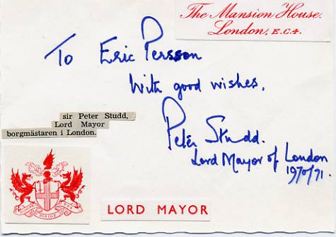 Lord Mayor of London & Cricket Player PETER STUDD Autographed Card 1970s
