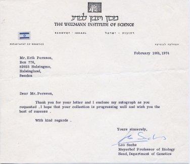 Israeli Molecular Biologist & Cancer Researcher LEO SACHS TLS 1974