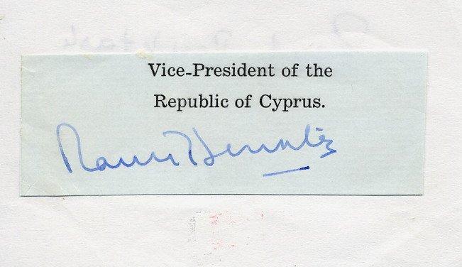 1st President of Northern Cyprus RAUF DENKTASH Autograph Cut 1973