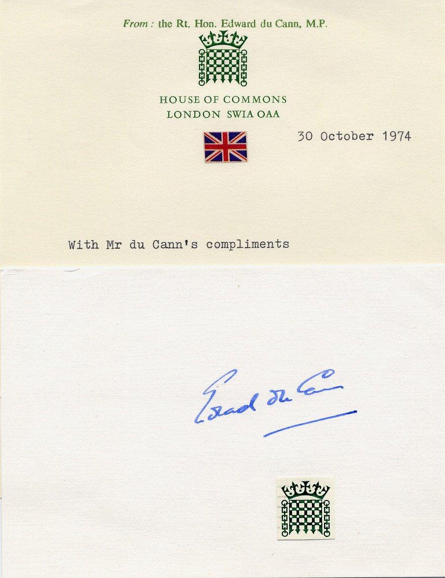 British Conservative Politician EDWARD du CANN Autographed Card 1974