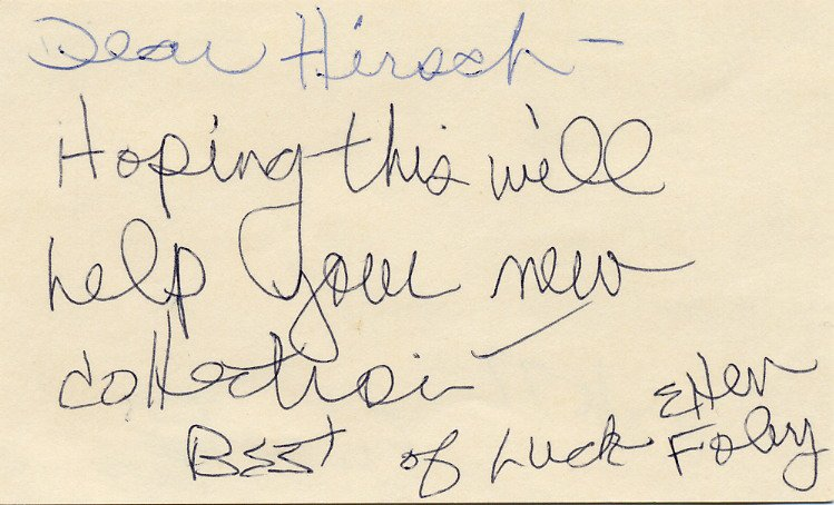 American Singer Meat Loaf & Actress ELLEN FOLEY Autograph Note Signed 1977