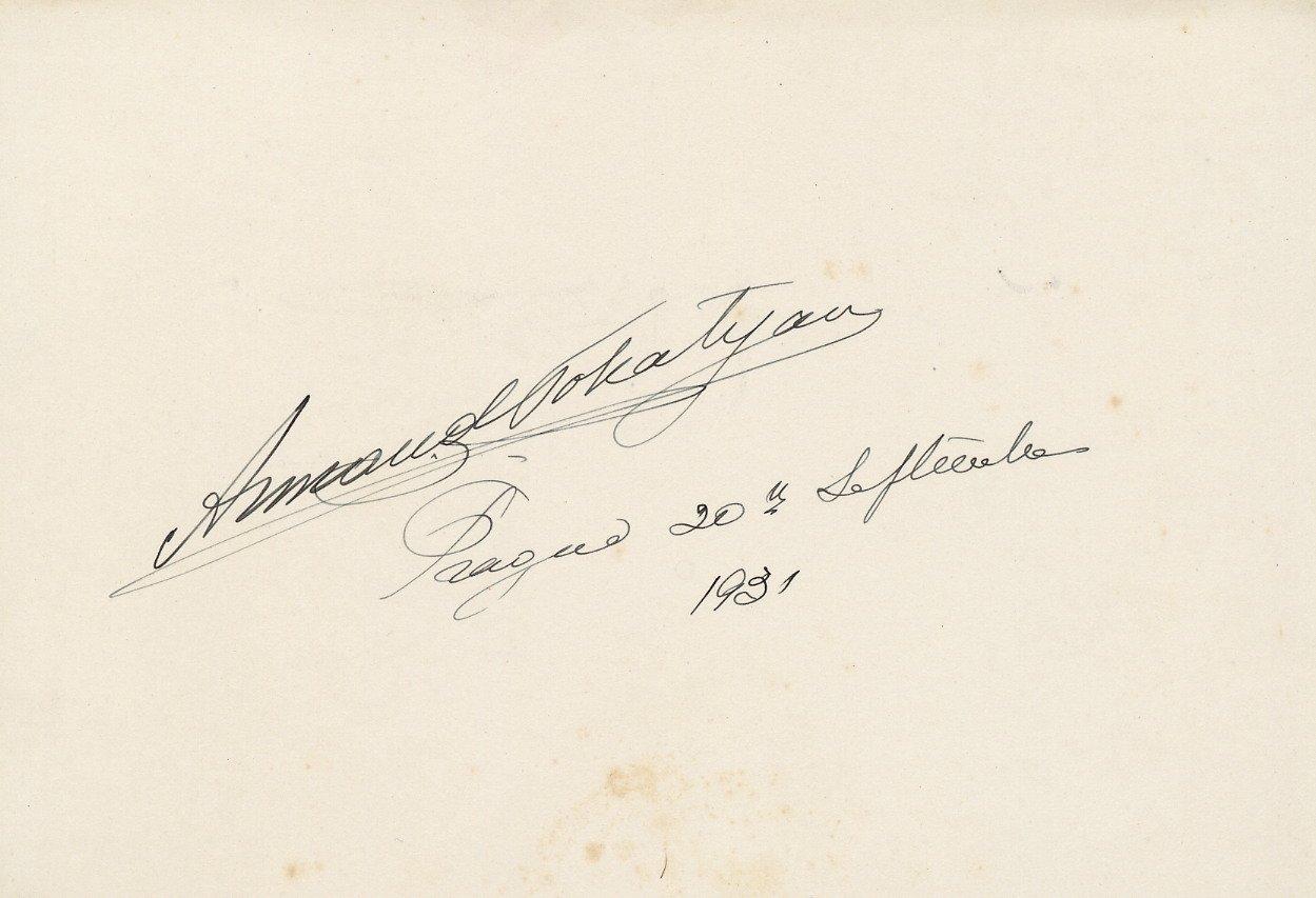 1923 Met Debut Armenian Bulgarian Tenor ARMAND TOKATYAN Autographed Card 1931