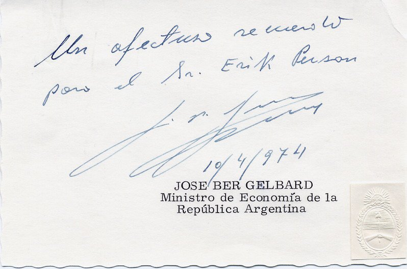 Argentine Activist & Politician JOSE BER GELBARD Hand Signed Card 1974