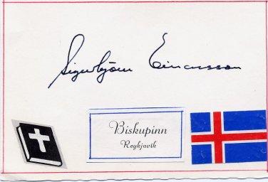 1959-81 Bishop of Iceland SIGURBJORN EINARSSON Hand Signed Card 1970s