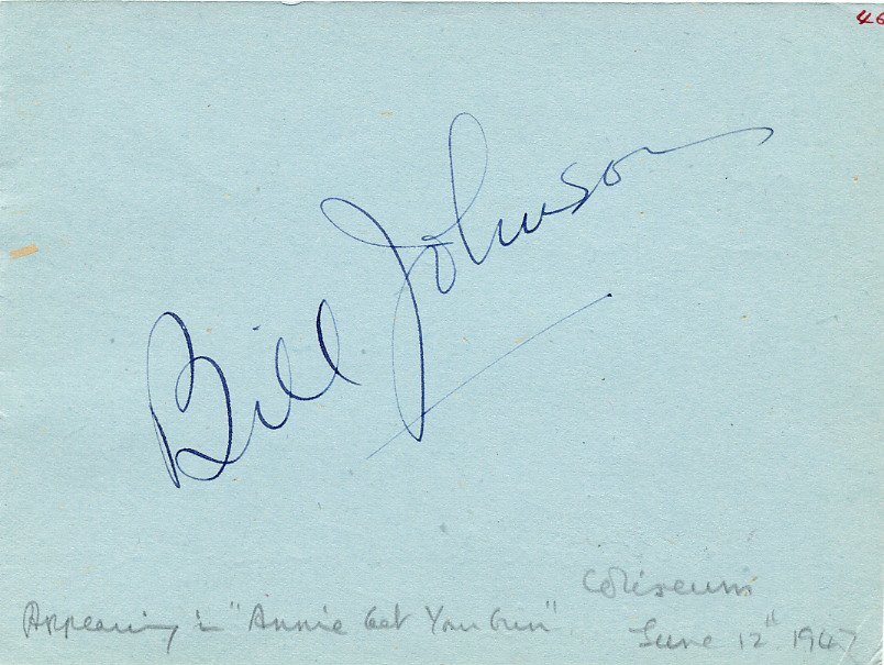 Actors BILL JOHNSON & EMLYN WILLIAMS Autographs from 1947