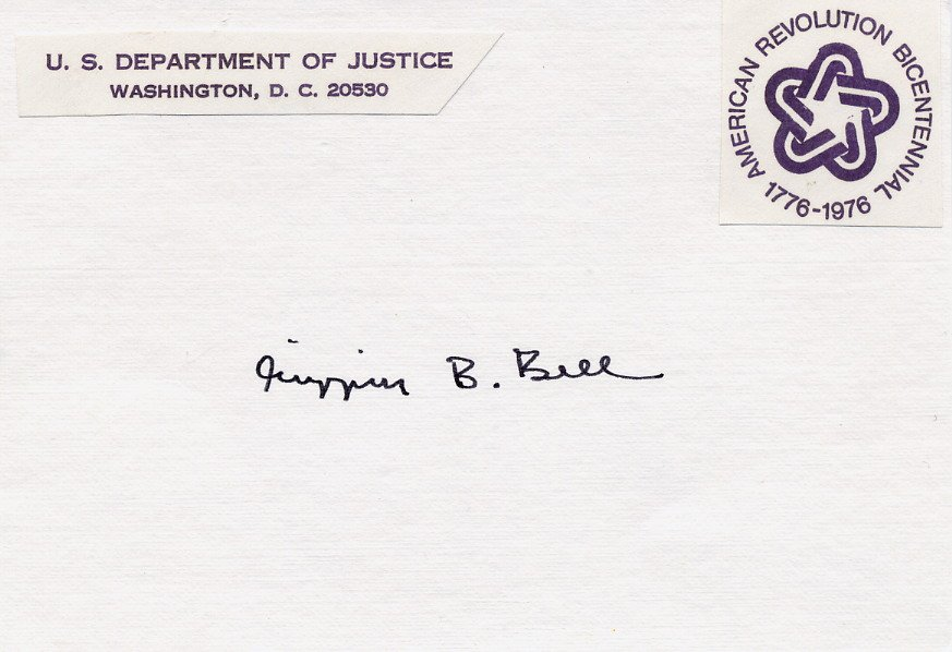 1977-79 US Attorney General w/Carter GRIFFIN B. BELL Autographed Card 1970s
