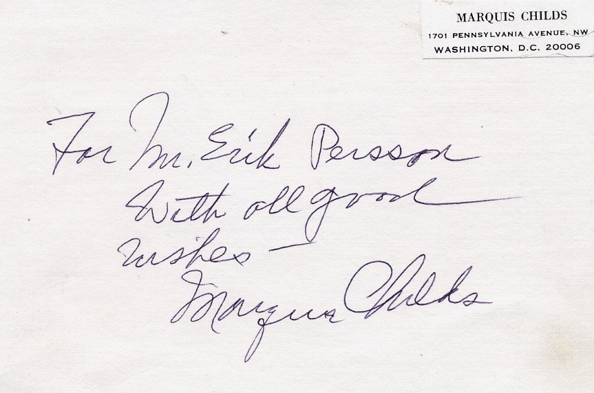 1970 Pulitzer Prize American Journalist MARQUIS CHILDS Autographed Card 1970s