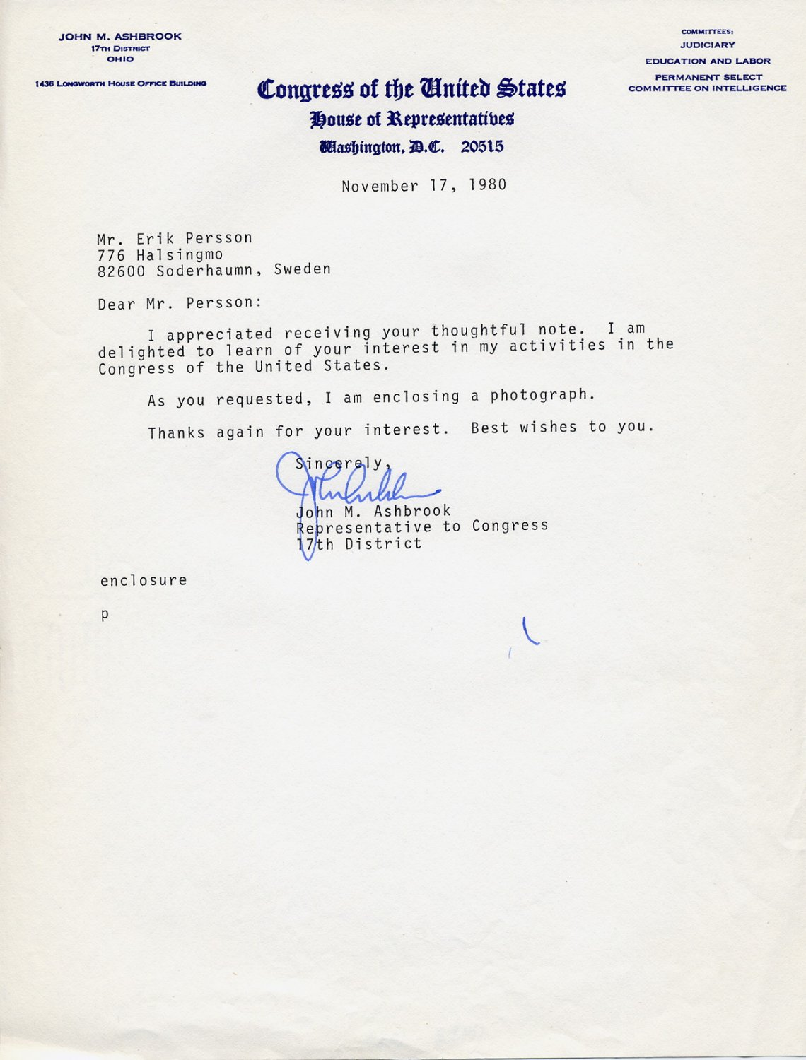 1961-82 US Representative from Ohio JOHN M ASHBROOK Typed Letter Signed 1980