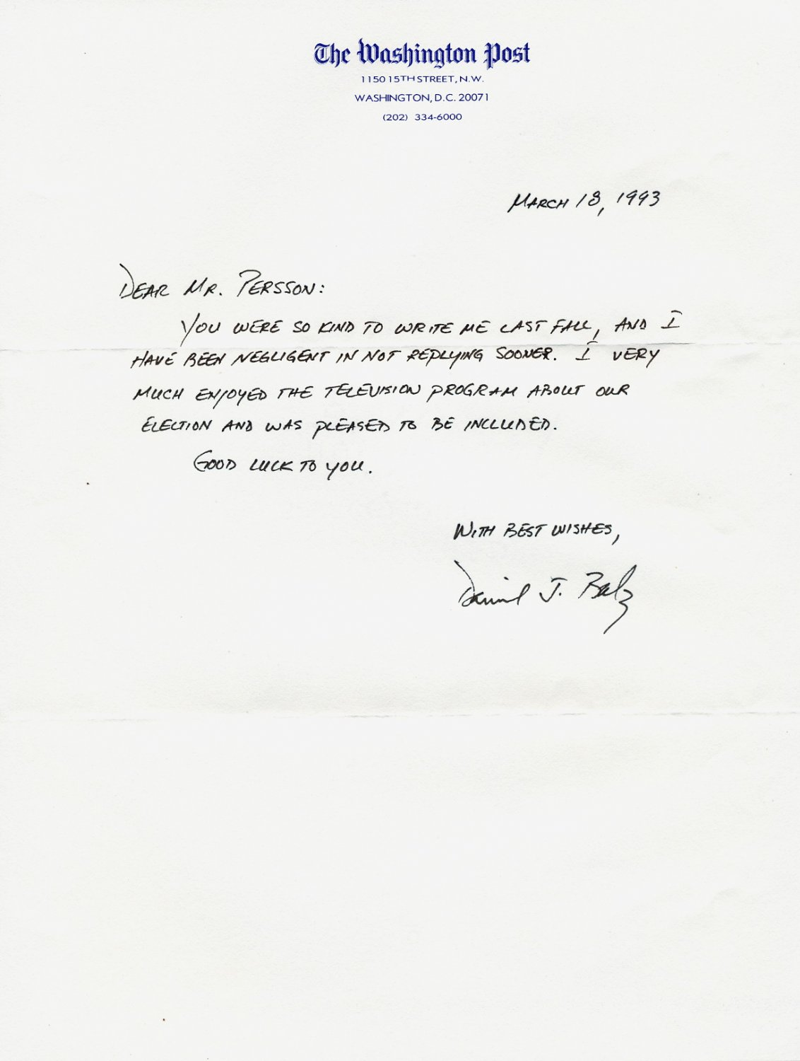 The Washington Post Journalist Dan Balz Autograph Letter Signed 1993