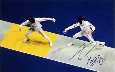 2012 Fencing Olympic Bronze JIN SUN JUNG Hand Signed Photo 4x6