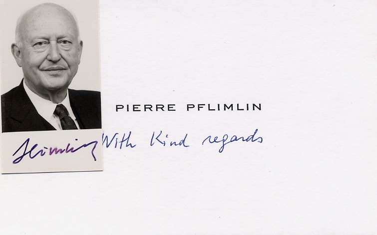 1958 Prime Minister of France PIERRE PFLIMLIN Hand Signed Photo & Card