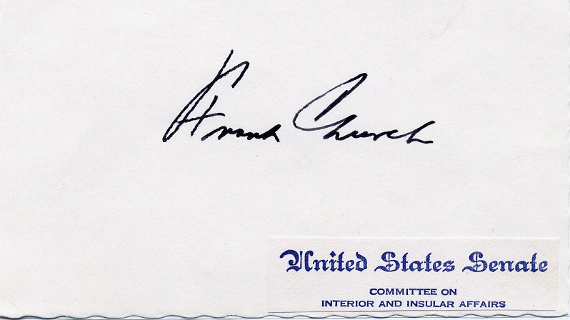 1957-81 US Senator from Idaho FRANK CHURCH Autographed Card 1975