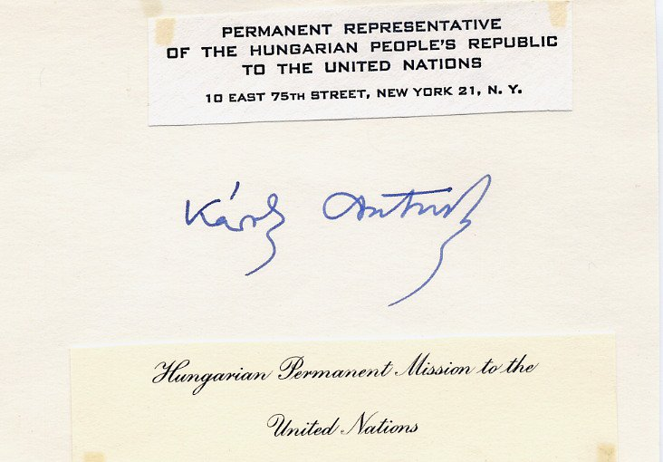 Hungary - Ambassador to United Nations KAROLY CSATORDAY Autographed Card 1960s