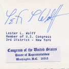 1965-81 US Representative from NY LESTER L WOLFF Autographed Card 1970s