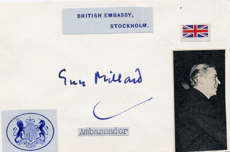 1956 Suez Crisis British Diplomat GUY MILLARD Autographed Card 1970s