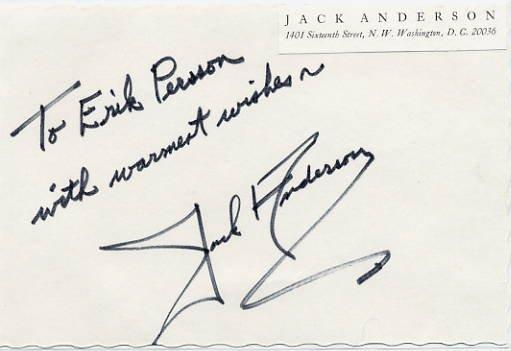 1972 Pulitzer Prize Columnist JACK ANDERSON Autographed Card 1970s