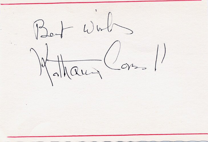 American Stage Actress KATHARINE CORNELL Autographed Card 1960s