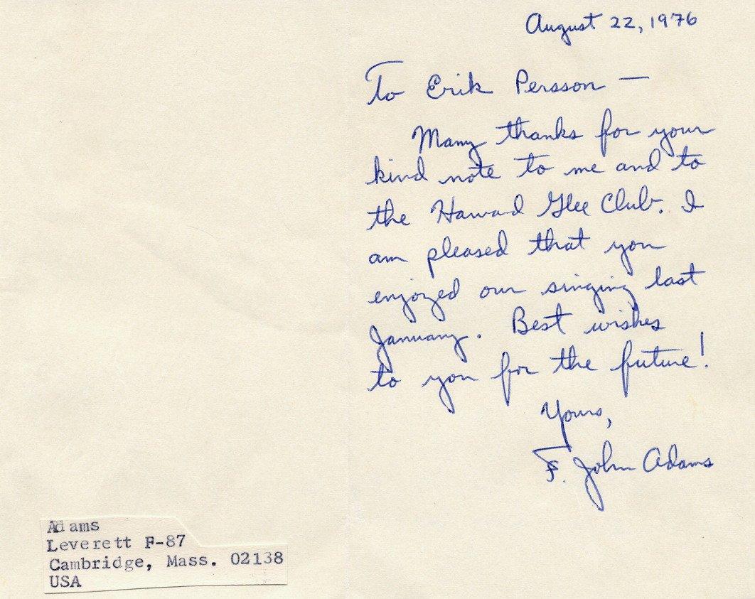 Harvard Glee Club & Concord Chorus Conductor F. JOHN ADAMS ALS 1976