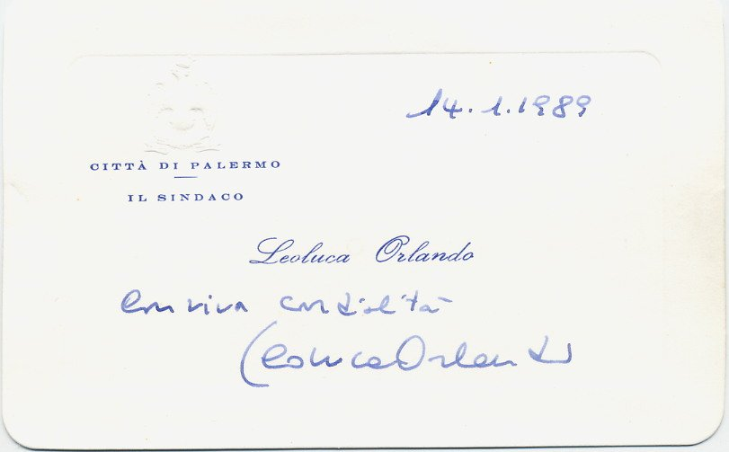 Italy - Mayor of Palermo Sicily LEOLUCA ORLANDO Autographed Card 1989