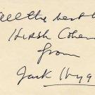 Prolific Novelist JACK HIGGINS Autograph Note Signed from 1977
