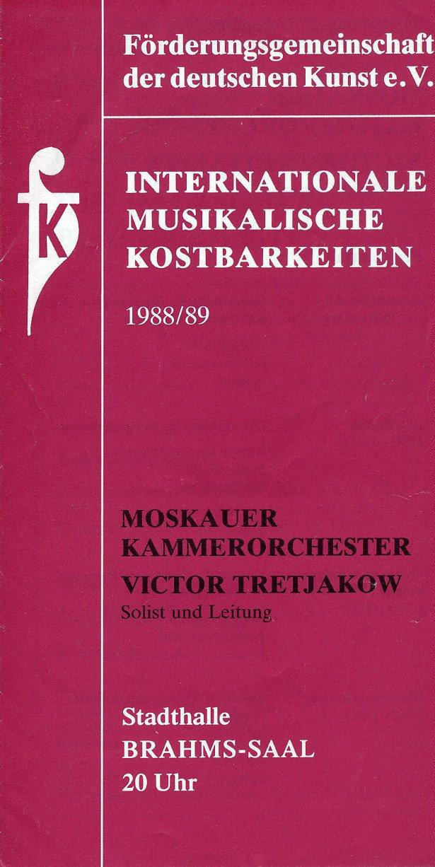 Russian Violinist & Conductor VIKTOR TRETYAKOV Autographed Concert Program 1988
