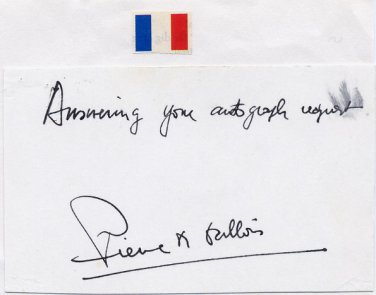 France - Air Force Brig General PIERRE M GALLOIS Autograph Note Signed 1970s