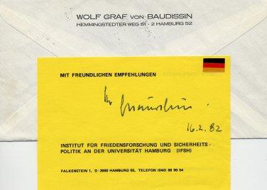 German General & Military Planner WOLF GRAF von BAUDISSIN Autograph 1982