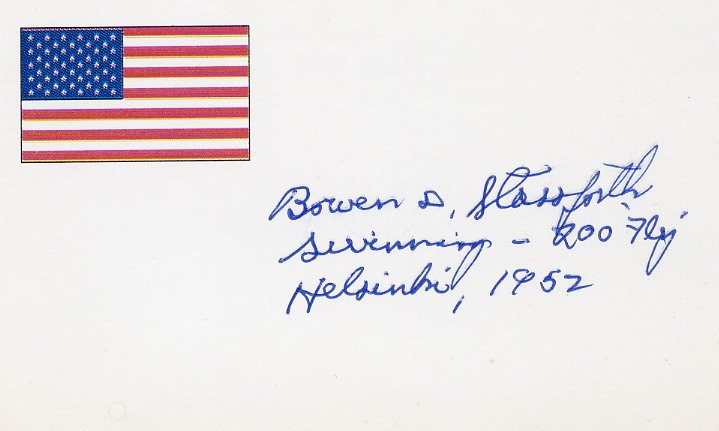1952 Helsinki Swimming Silver BOWEN STASSFORTH Autographed Card 1990s