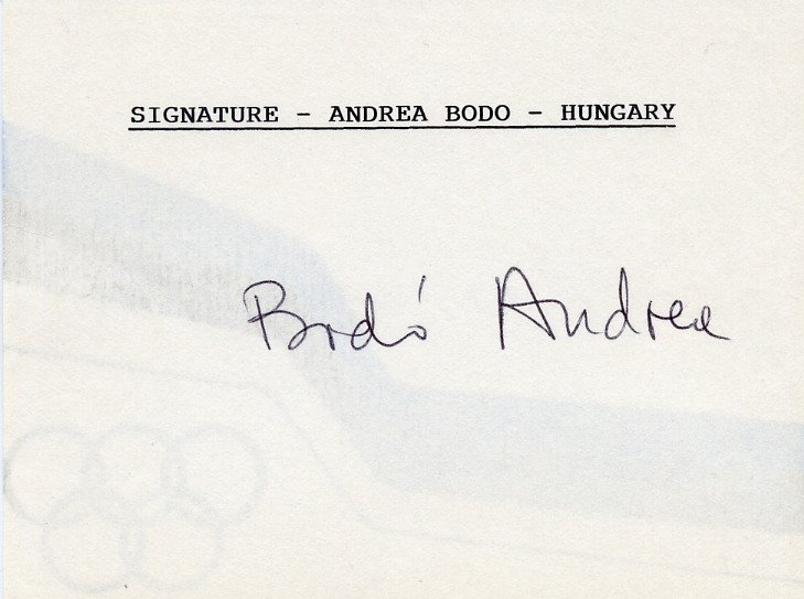 1956 Melbourne Olympics Gymnastics Gold ANDREA BODO Autographed Card 1980s